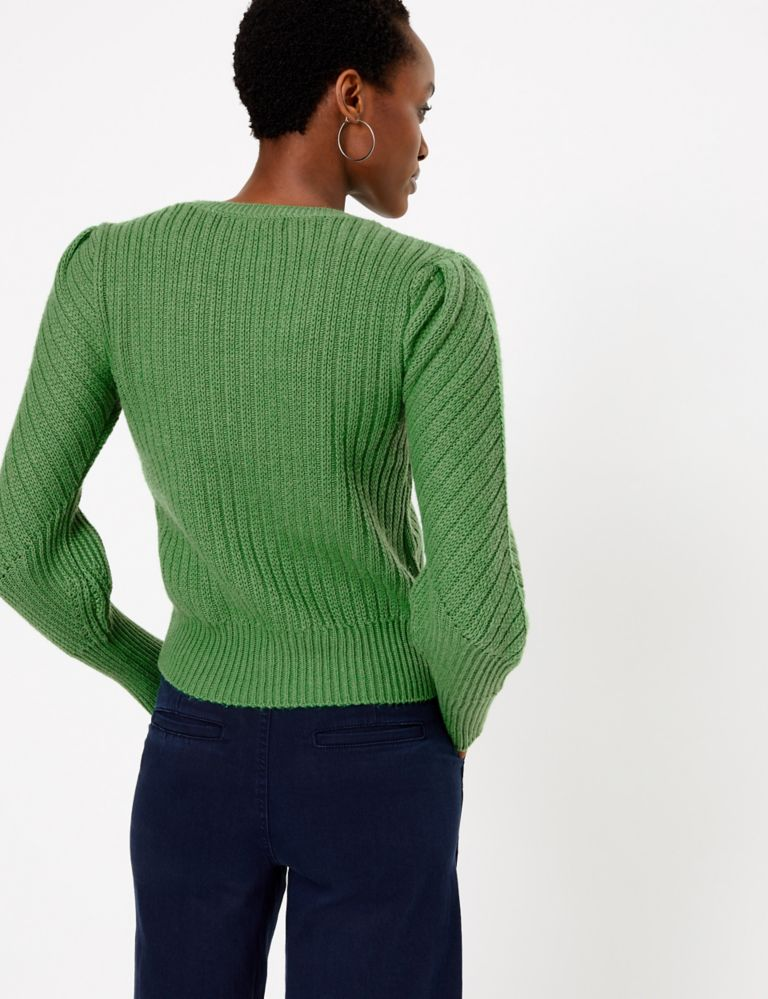 M&S Collection Ribbed Blouson Sleeve Jumper back view