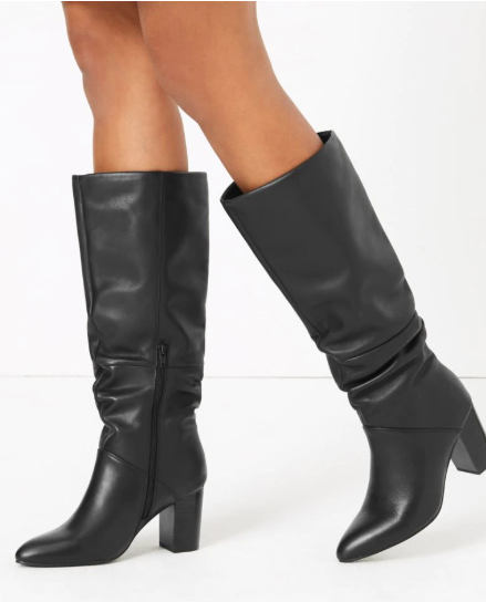 M&S Collection slouch Block Heel Knee Boots