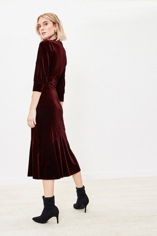 Oasis Red Velvet Midi Dress back view