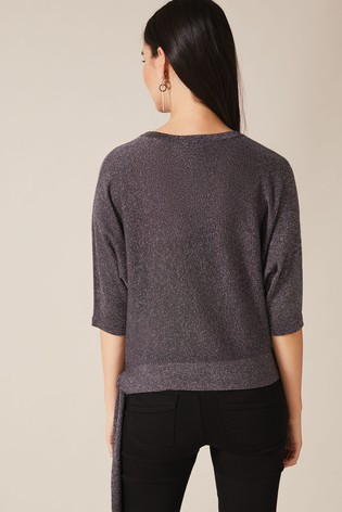 Phase Eight Grey Harper Side Tie Shimmer Knit back view