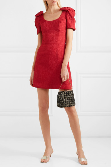 Rebecca Vallance Harlow bow-detailed cloqué mini dress