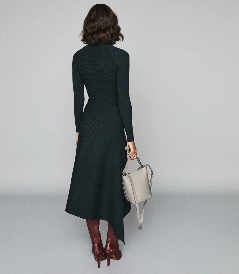 Reiss Leo Turtleneck Knitted Dress in Teal back view