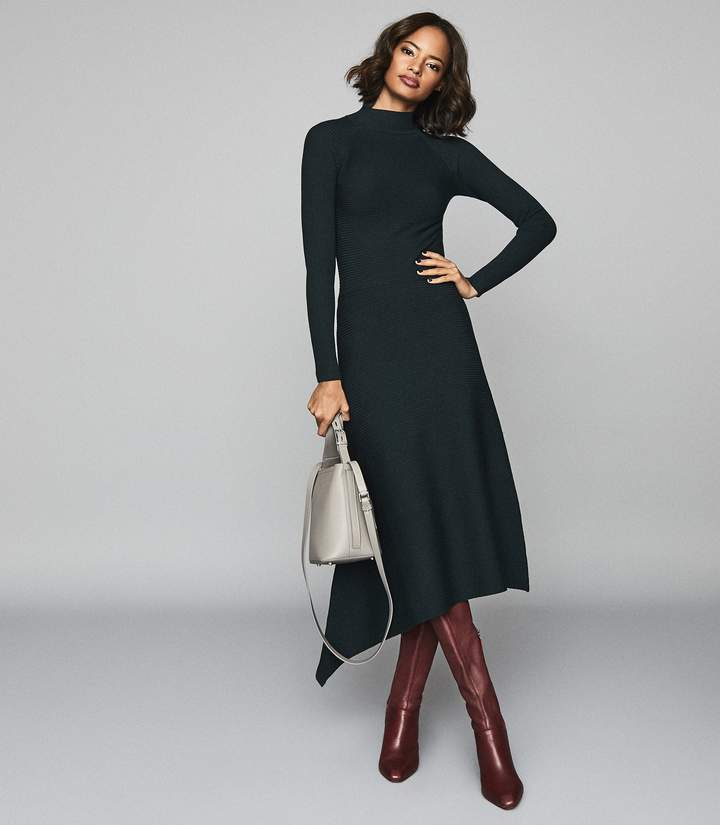 Reiss Leo Turtleneck Knitted Dress in Teal