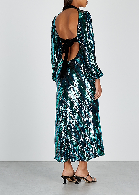 RIXO Celia Striped Sequin Dress back view
