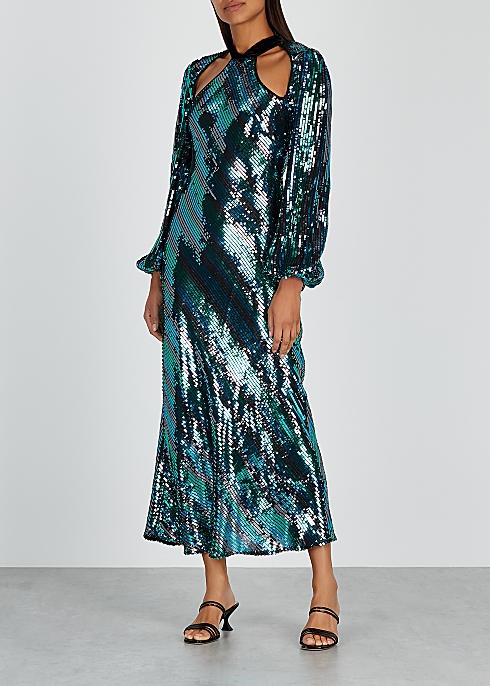 RIXO Celia Striped Sequin Dress