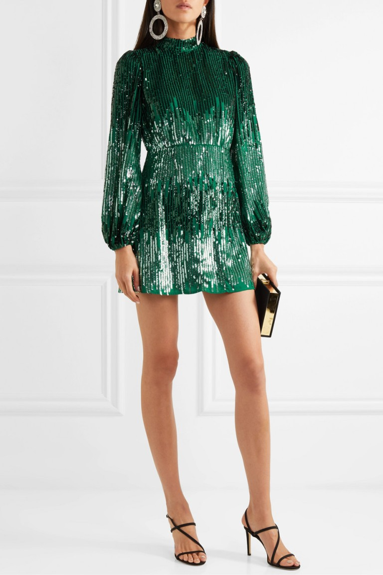 RIXO Samantha Sequined Crepe Mini Dress