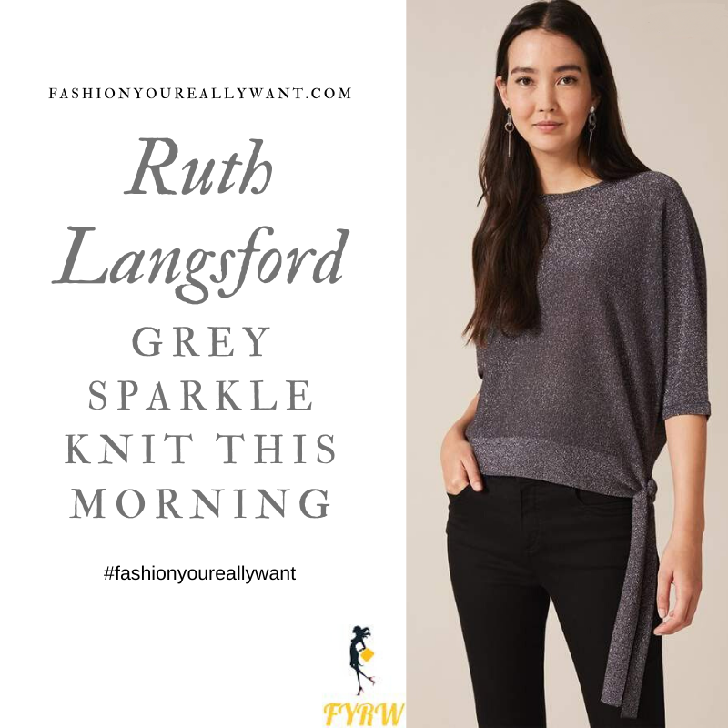 Ruth Langsford Wore This Grey Sparkle Knit side tie lurex on This Morning today where to get all her outfits December 2019