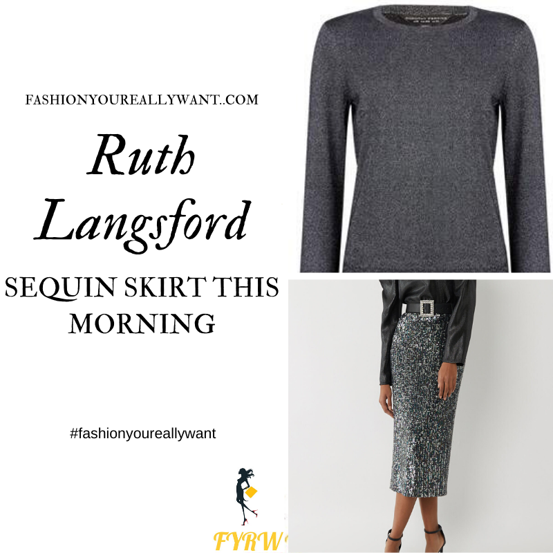 Ruth Langsford Wore This black sequin skirt with sparkle glitter grey jumper on This Morning today outfit blog December 2019 where to find her outfits
