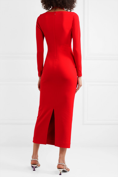 Solace London - Grayson Cutout Stretch-crepe Midi Dress back view