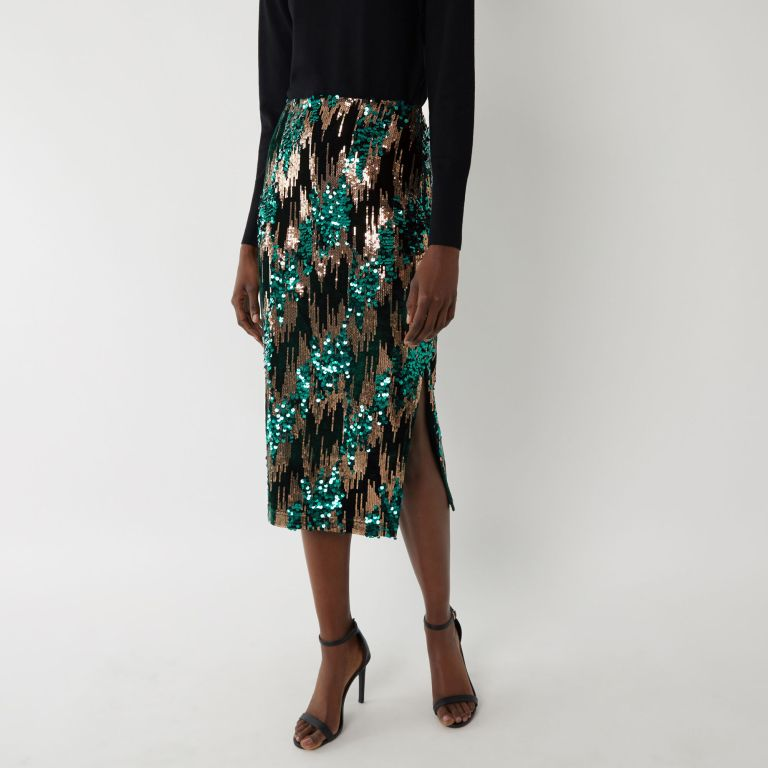 Warehouse Chevron Sequin Midi Skirt