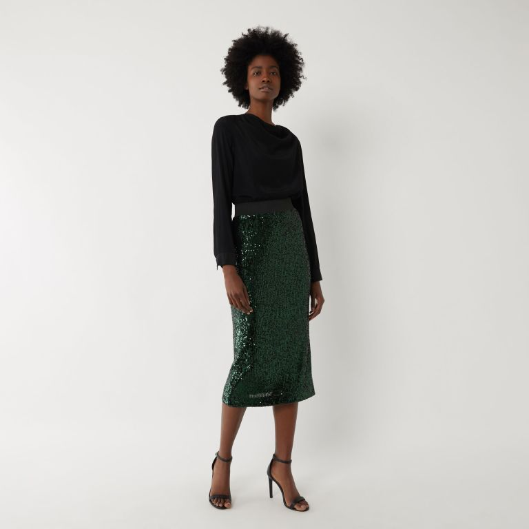 Warehouse Sequin Midi Skirt