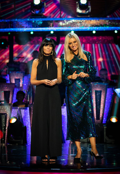 where to get Claudia Winkleman black halter jumpsuit Tess Daly blue sequin dress Strictly Semi final results 8 December 2019 Photo BBC