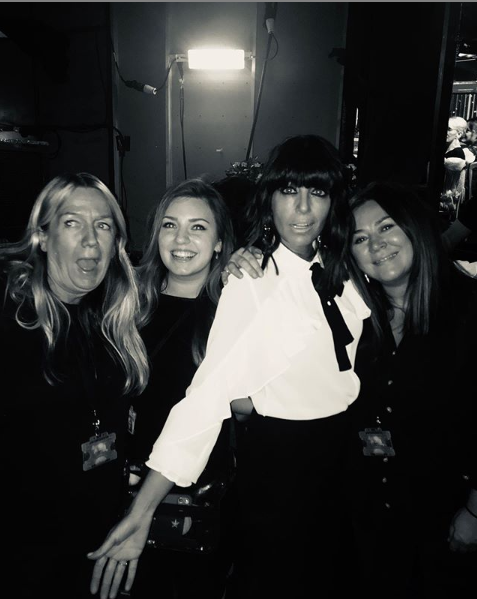 where to get Claudia Winkleman white ruffle blouse black trousers Stictly Final 14 December 2019 Photo Claudia Winkleman