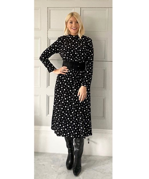 where to get Holly Willoughby black and white polka dot dress 13 December 2019 Photo Holly Willoughby