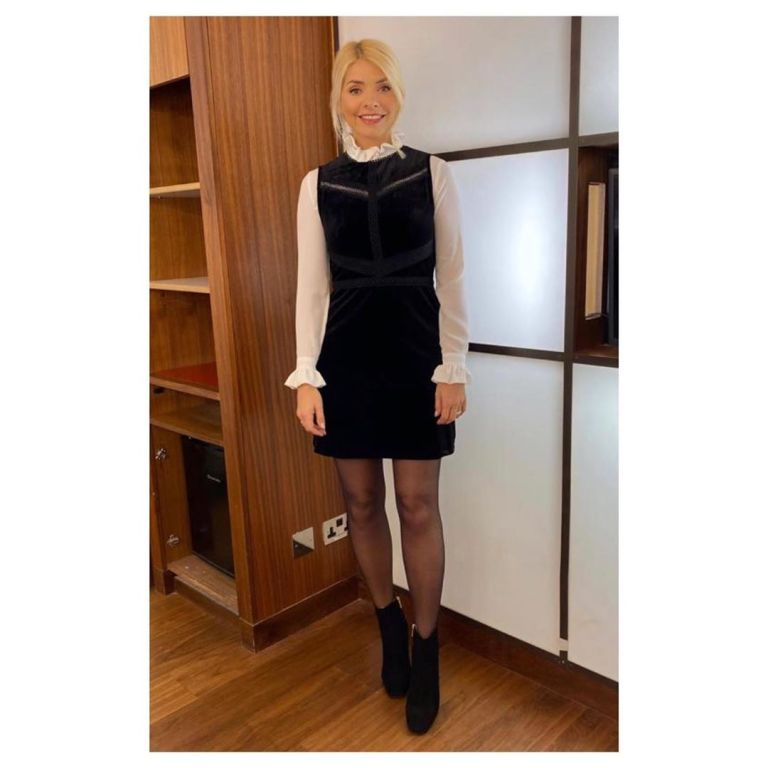 where to get Holly Willoughby black velve shift dress cream ruffle shirt This morning outfit today 2 December 2019 Photo Holly Willoughby