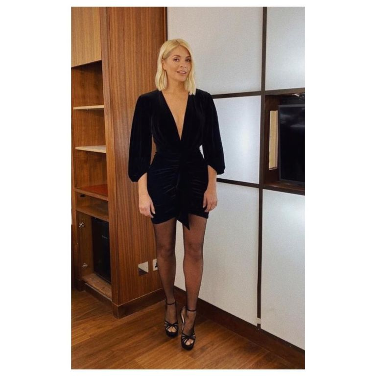 where to get Holly willoughby black velvet plunge mini dress Jonathan Ross show 4 December 2019 Photo holly Willoughby