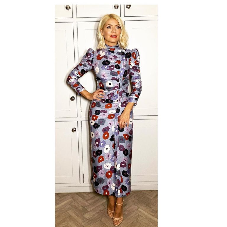where to get holly Willoughby blue floral dress British Fashion Awards 2 December 2019 Photo Holly Willoughby