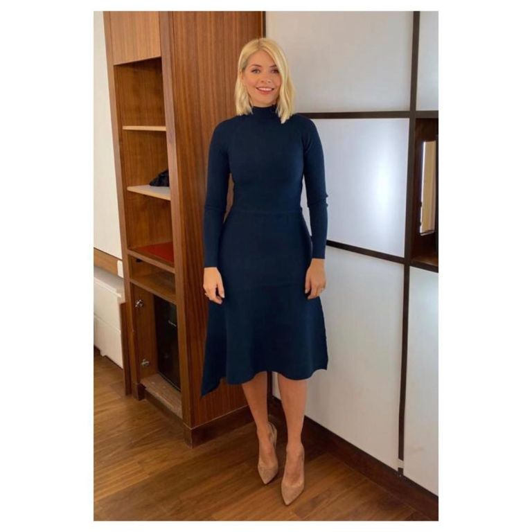 where to get Holly Willoughby blue kniited turtleneck dress This Morning outfit today 2 December 2019 Photo Holly Willoughby