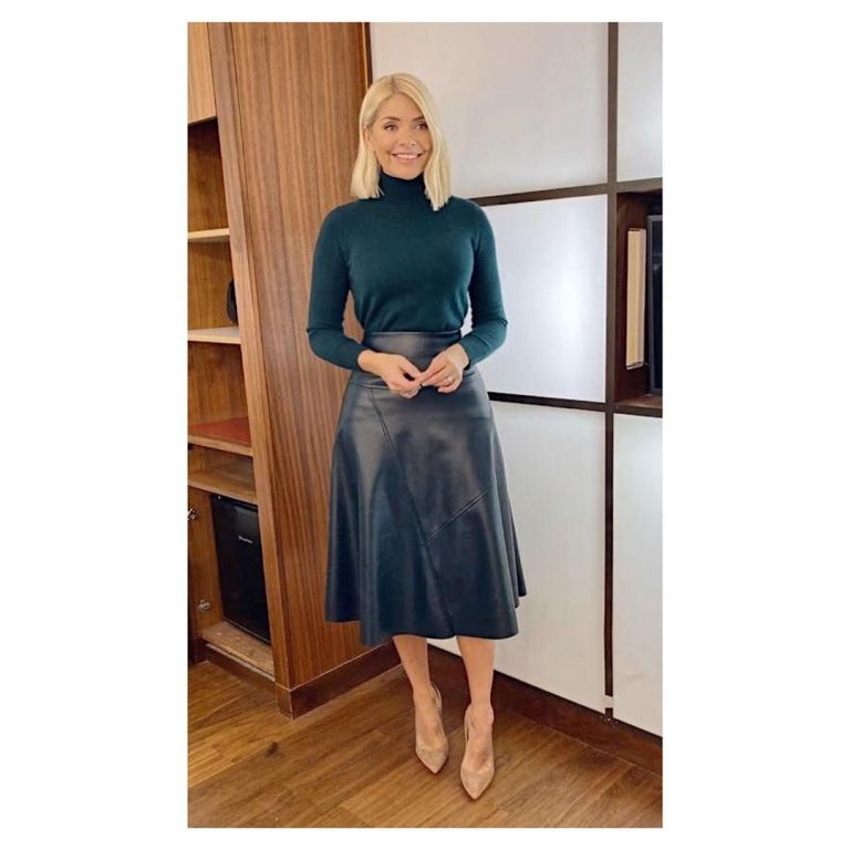 where to get Holly Willoughby green faux leather skirt green polo neck This Morning outfit today 5 December 2019 Photo Holly Willoughby