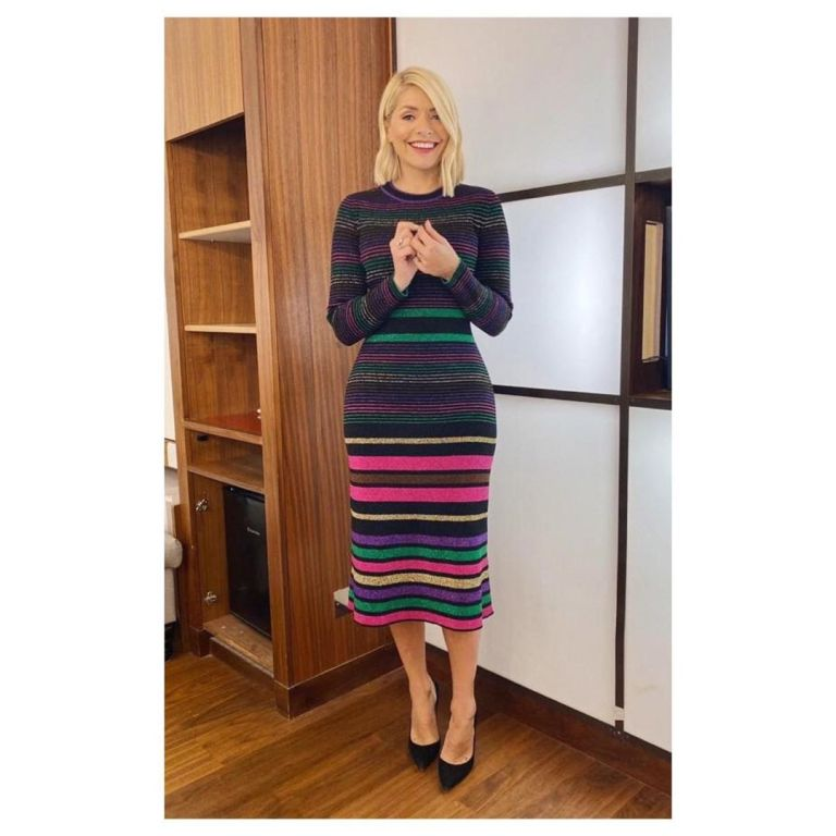 where to get Holly Willoughby rainbow striped dress This Morning outfit today 10 december 2019 Photo Holly Willoughby