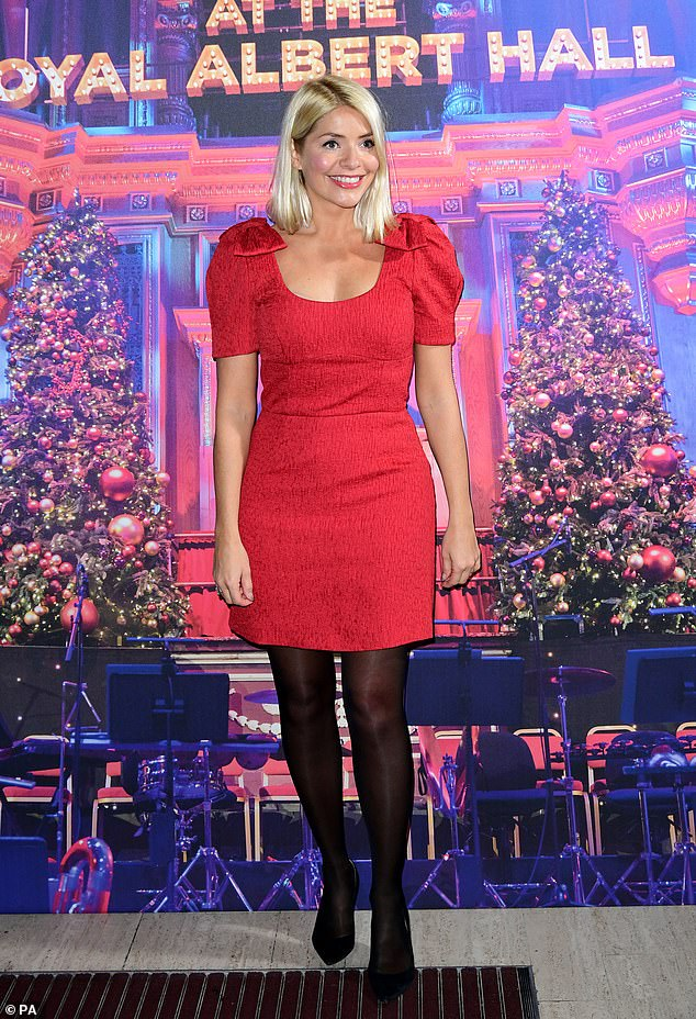 where to get Holly Willoughby red bow shoulder dress emma bunton Christmas Party 6 December 2019 Photo PA