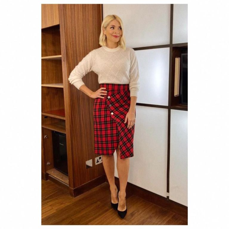 where to get Holly Willoughby red check skirt cream diamond jumper This Morning outfit today 11 December 2019 Photo Holly Willoughby