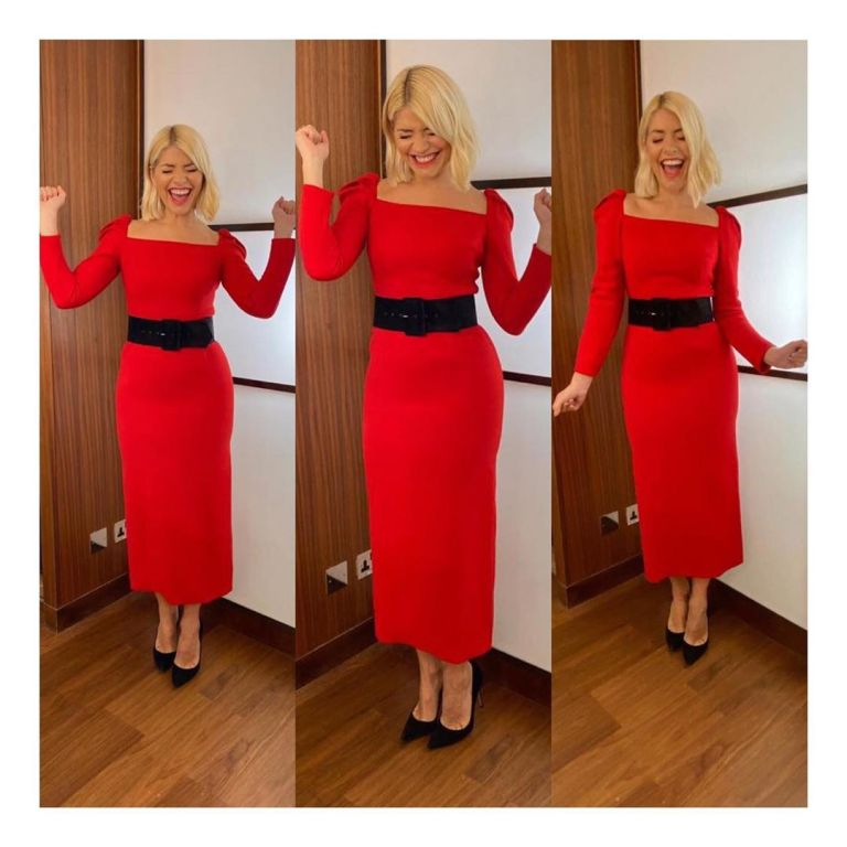 where to get Holly Willoughby red dress black belt This Morning outfit today 12 december 2019 Photo holly Willoughby