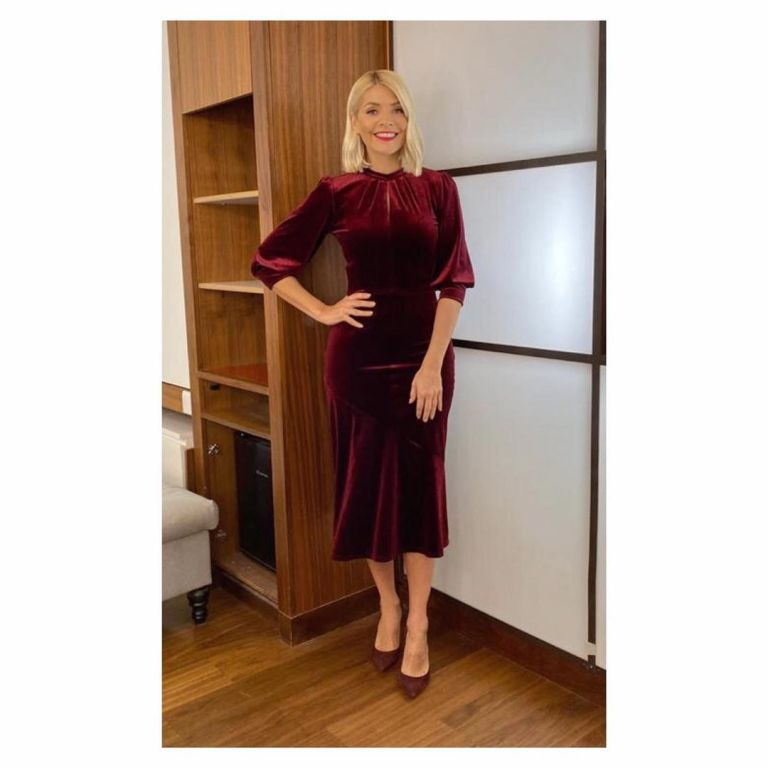 Where to get Holly Willoughby red velvet midi dress This Morning outfit today 2 December 2019 Photo Holly Willoughby