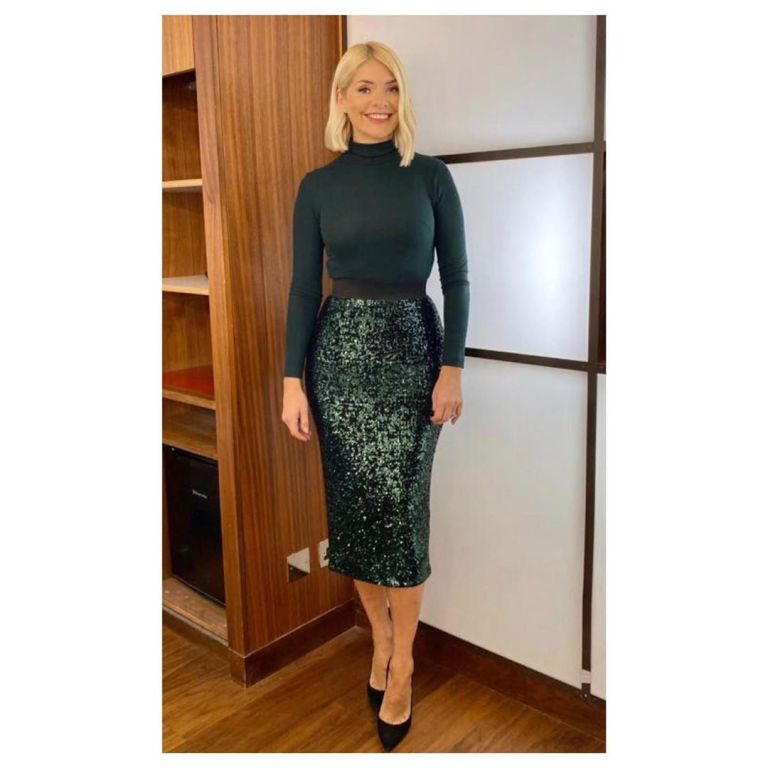 where to get holly Willoughby This Morning outfit today green sequin skirt green polo neck 9 December 2019