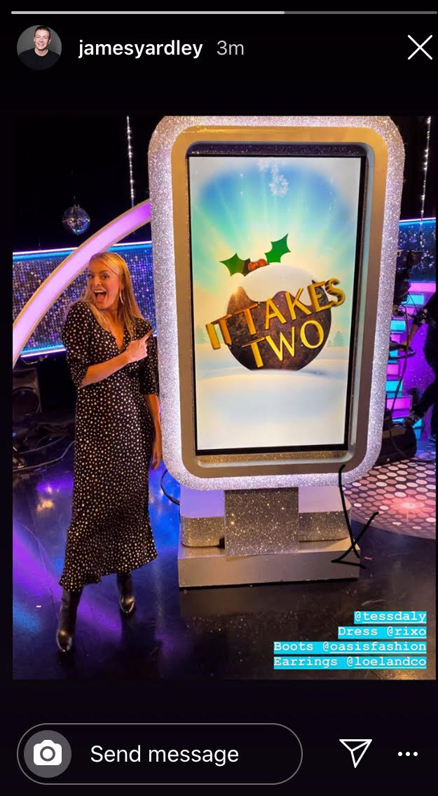 where to get Tess Daly black and gold star dress It Takes Two 11 December 2019 Photo James Yardley