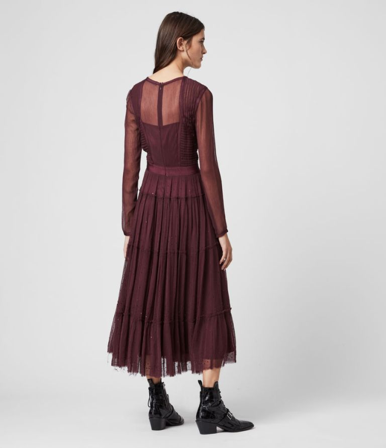 All Saints Rochi Embellished Long Sleeve Dress back view
