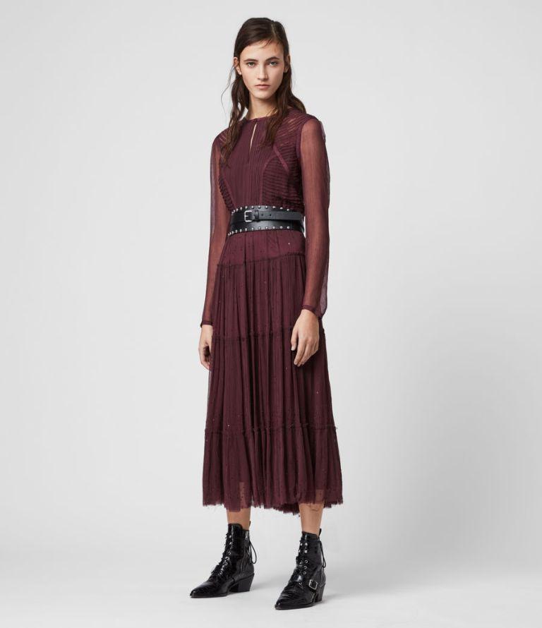 All Saints Rochi Embellished Long Sleeve Dress