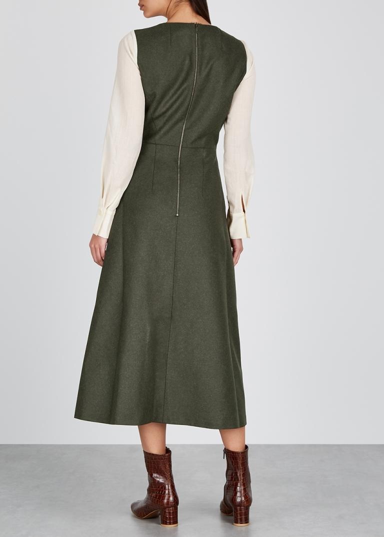 Cefinn Tilda Contrast Sleeve Wool Midi Dress in Dark Khaki Cream back view