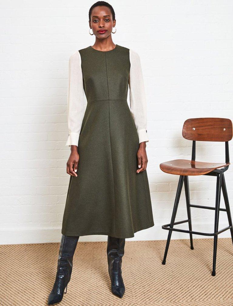 Cefinn Tilda Contrast Sleeve Wool Midi Dress in Dark Khaki Cream