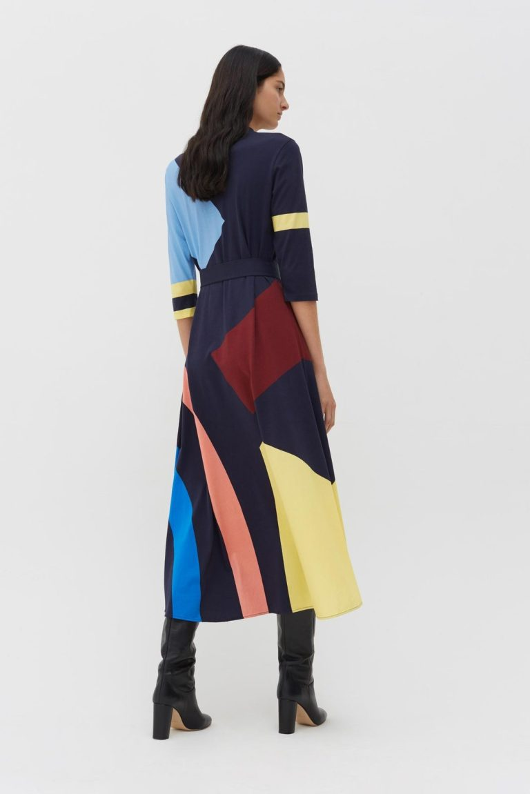 Chinti and Parker Navy abstract Cotton Jersey Dress back view