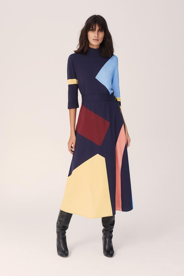 Chinti and Parker Navy abstract Cotton Jersey Dress