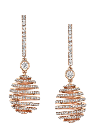 Faberge Spiral Diamond Rose Gold Earrings