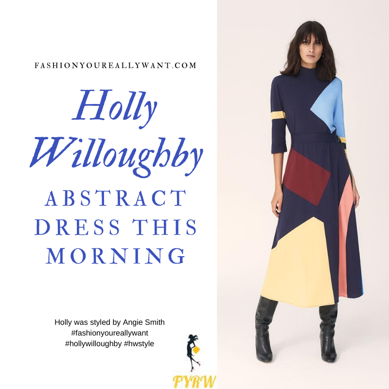 Holly Willoughby Wore This on  This Morning today where to find all her outfits January 2020 Abstract Dress colour block suede court shoes