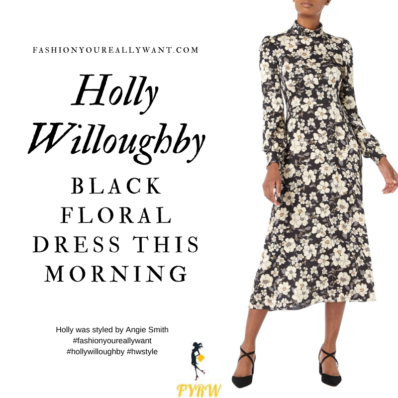 Where to get all Holly Willoughby This Morning outfits blog January 2020 black foral midi dress