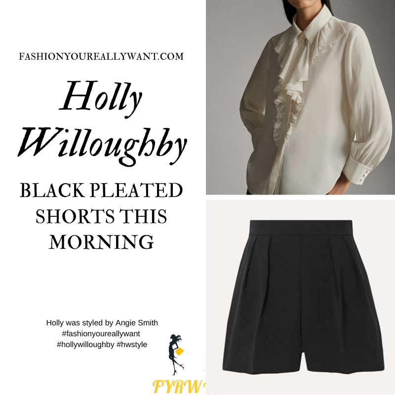 Where to get all Holly Willoughby This Morning outfits January 2020 black pleated shorts cream ruffled blouse