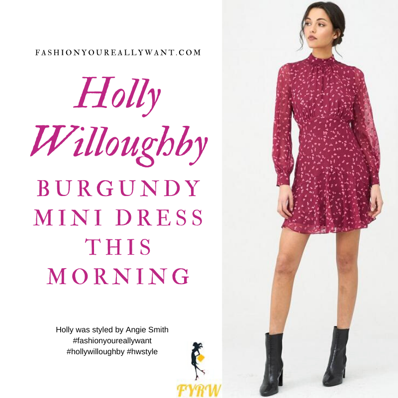 Where to get all Holly Willoughby This Morning outfits blog January 2020 Burgundy leaf print mini dress