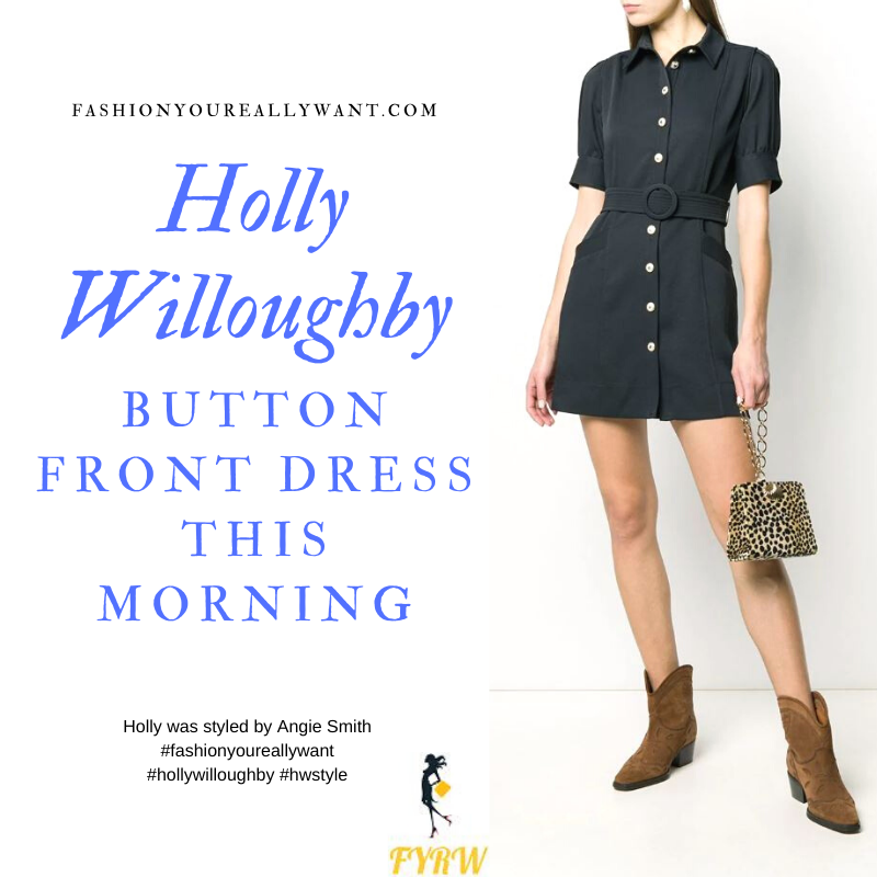 Where to get all Holly Willoughby This Morning outfits January 2020 blog blue navy button front mini dress with belt and blue court shoes