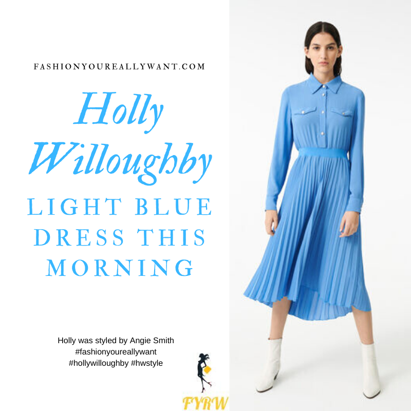 Where to get all Holly Willoughby This Morning outfits January 2020 light blue pleated skirt shirt dress