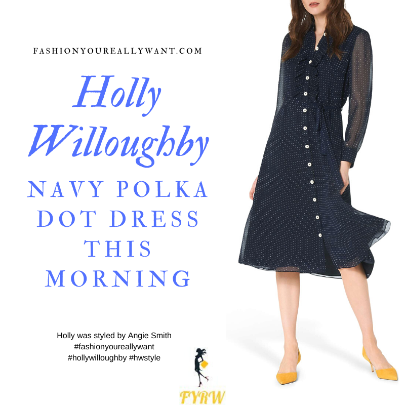 Where to get all Holly Willoughby This Morning outfits blog January 2020 Navy polka dot dress chiffon sleeves