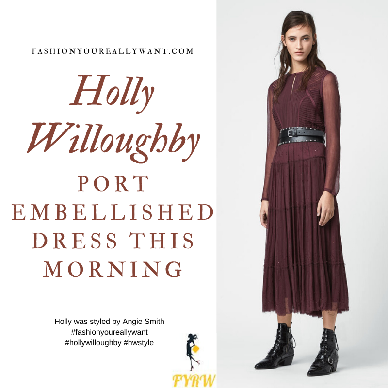Willoughby This Morning outfits blog January 2020 Burgundy Port Embellished Dress red knee high boots