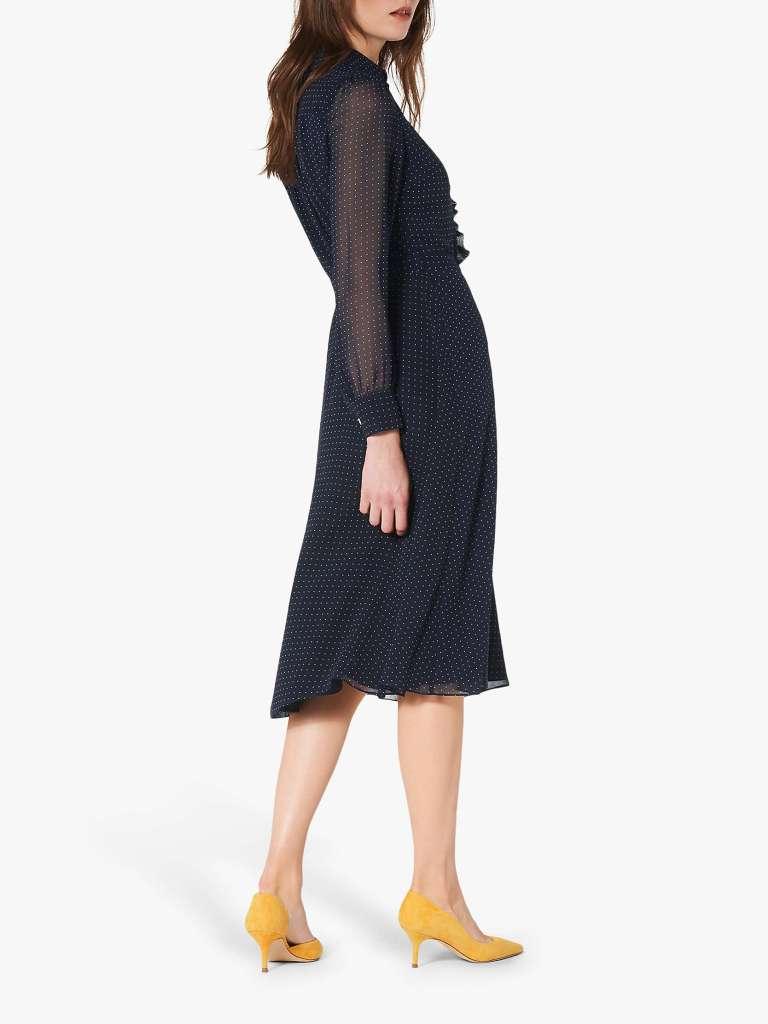 LK Bennett Ensor Polka Dot Shirt Dress back view