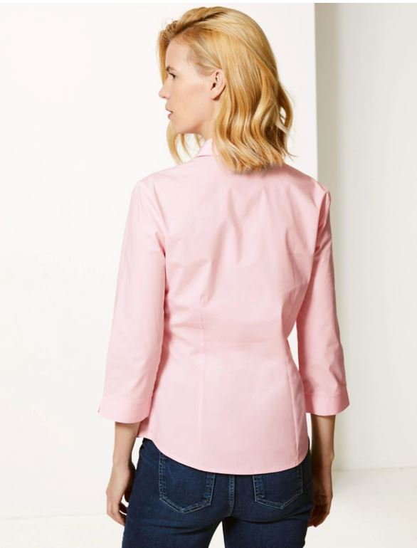 M&S 3 4 sleeve shirt pink back view
