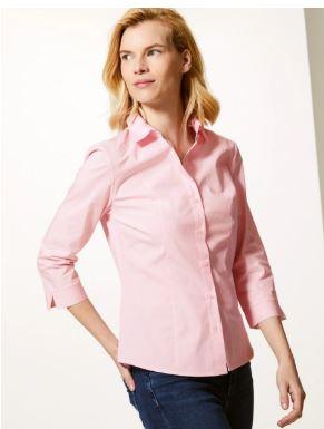 M&S 3 4 sleeve shirt pink