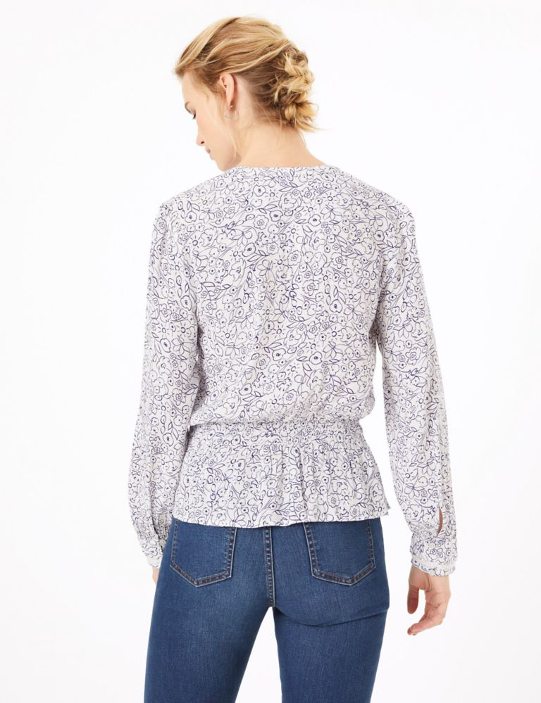 M&S Collection Floral Print Waisted Blouse back view