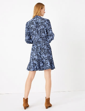 M&S Collection Floral Print Waisted Mini Dress back view